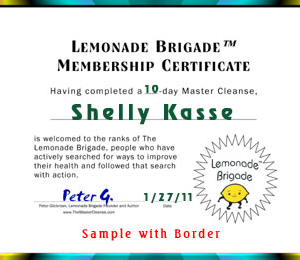 Free Master Cleanse Lemonade Brigade™ Certificate Sample