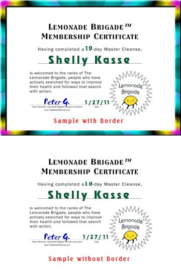 Lemonade Brigade™ Certificate